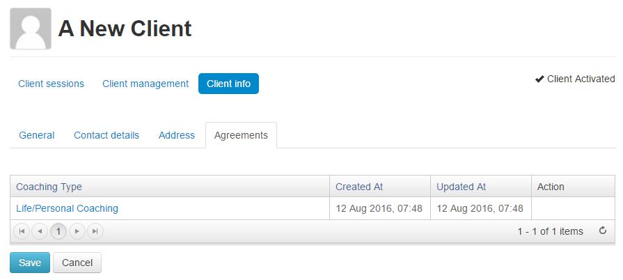 Agreements tab