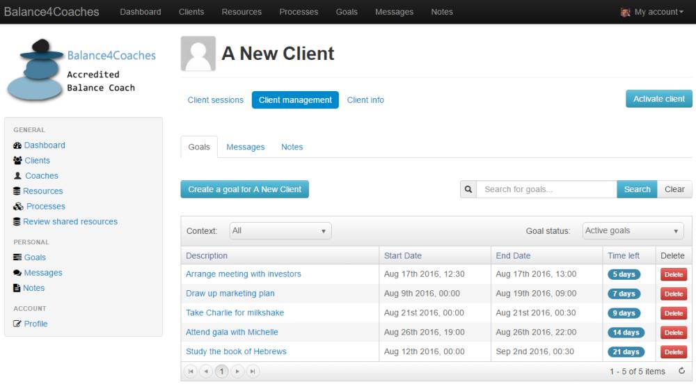 Client goals in user dashboard
