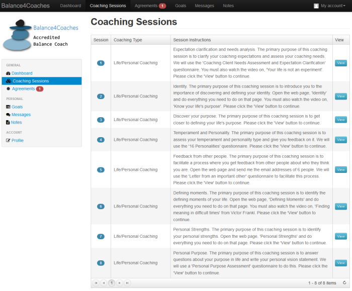 Client's dashboard with coaching sessions