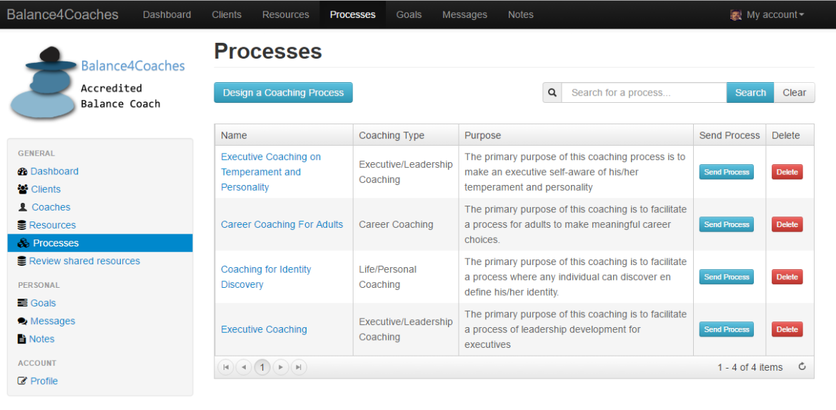 Processes page
